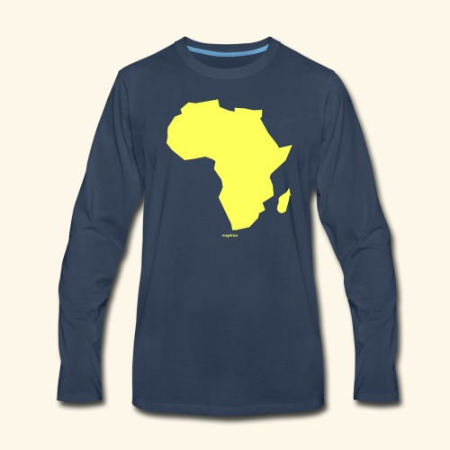 Africa Map Continent yellow - Men's Premium Long Sleeve T-Shirt