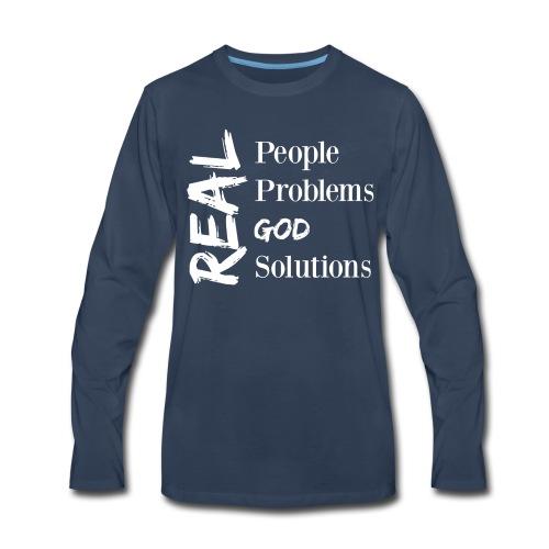 Real God (white logo) - Men's Premium Long Sleeve T-Shirt