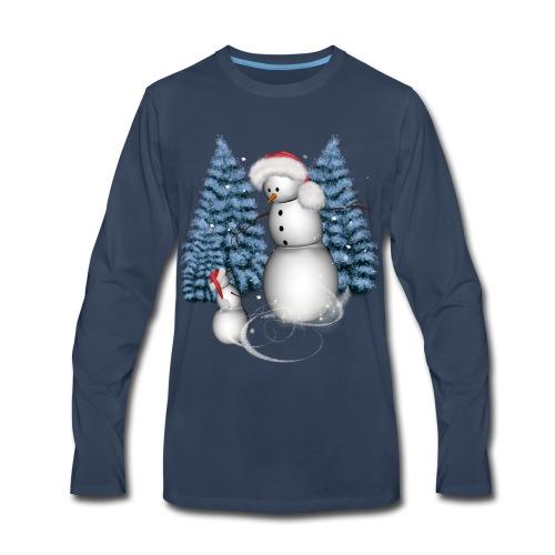 Funny snowman with snow kid - Men's Premium Long Sleeve T-Shirt