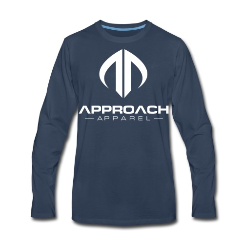 Approach Apparel Athletic Hoodie Shirt- White Logo - Men's Premium Long Sleeve T-Shirt