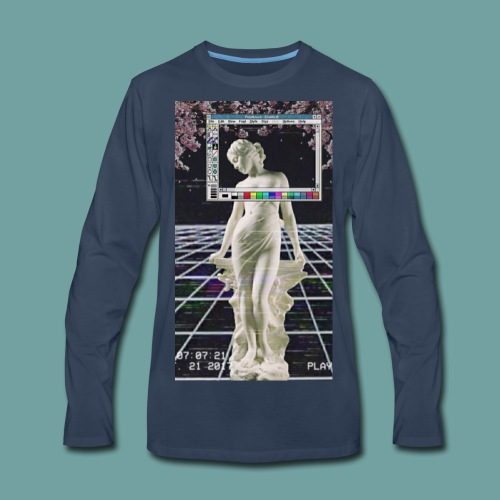 Vaporwave Glitch Microsoft Statue - Men's Premium Long Sleeve T-Shirt