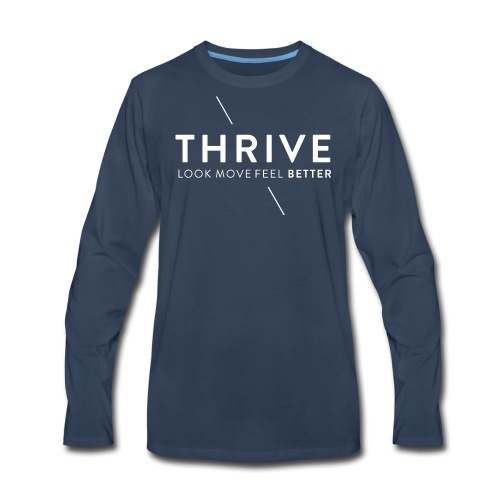 Thrive Logo with Tagline and Line White - Men's Premium Long Sleeve T-Shirt