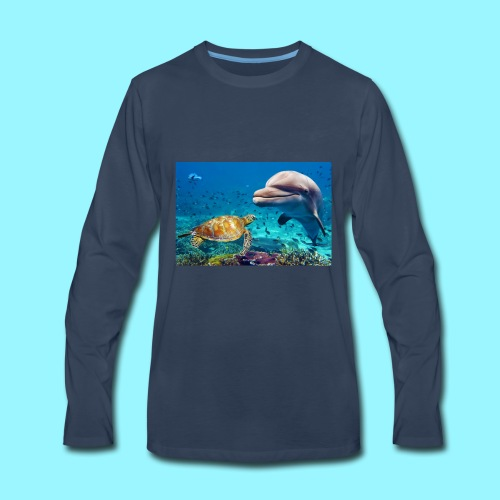 beautiful turtle, dolphin ocean design - Men's Premium Long Sleeve T-Shirt