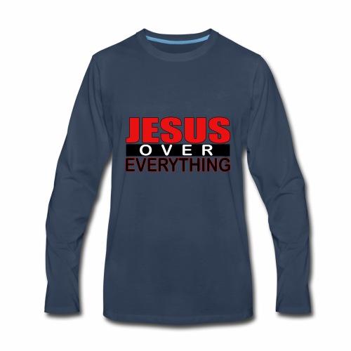 jesus over everything logo6 - Men's Premium Long Sleeve T-Shirt