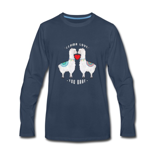 Llama Love You Babe Two Llamas Kissing Heart - Men's Premium Long Sleeve T-Shirt