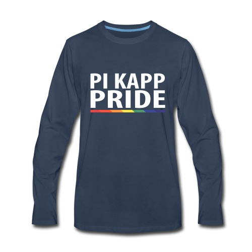PKPride Stacked Design w Rainbow Stripe White Tex - Men's Premium Long Sleeve T-Shirt