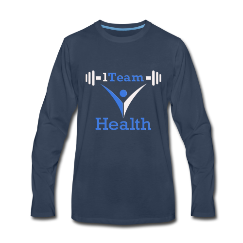 1TH - Blue and White - Men's Premium Long Sleeve T-Shirt