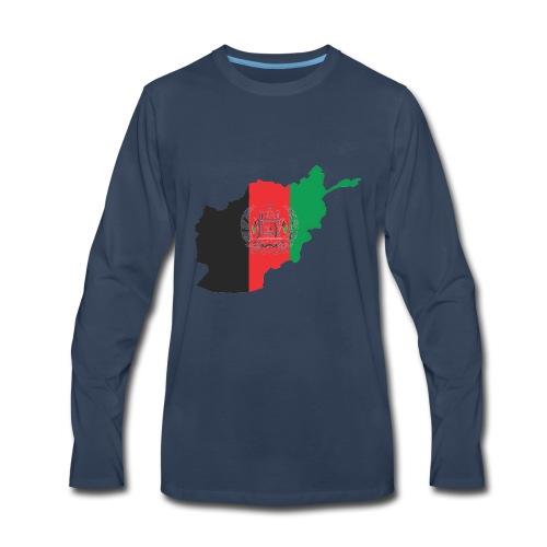 Afghanistan Flag in its Map Shape - Men's Premium Long Sleeve T-Shirt