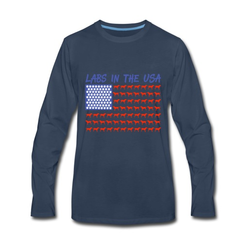 Labs in the USA Flag Labrador Retrievers - Men's Premium Long Sleeve T-Shirt