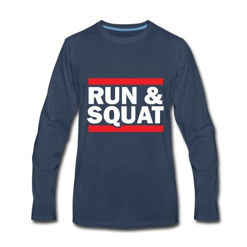 Run Squat White on Dark by Epic Greetings - Men's Premium Long Sleeve T-Shirt