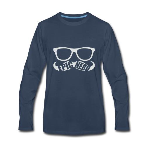 White Epic Nerd Logo - Men's Premium Long Sleeve T-Shirt