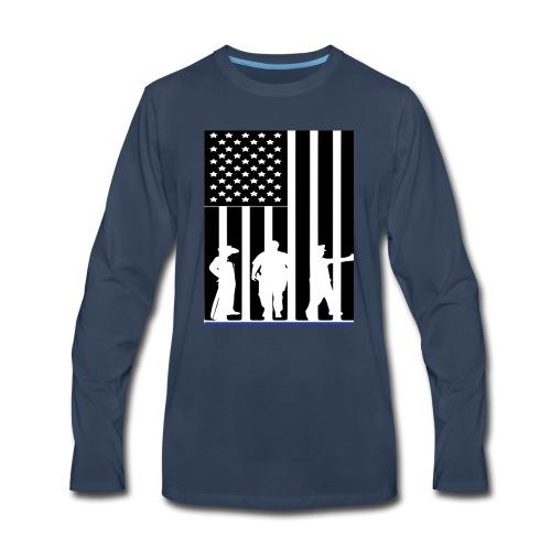 LAW ENFORCEMENT TRIO FLAG SHIRT - Men's Premium Long Sleeve T-Shirt