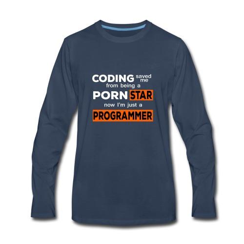 Pornstar To Coding - Men's Premium Long Sleeve T-Shirt