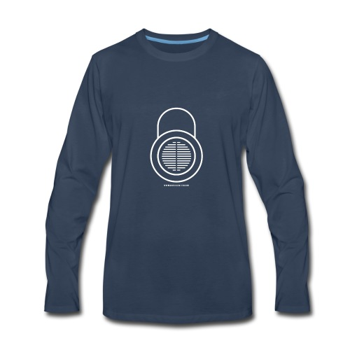 Knocksmith Green Lock Logo White - Men's Premium Long Sleeve T-Shirt