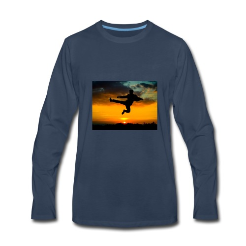 flying kick 1000x750 - Men's Premium Long Sleeve T-Shirt