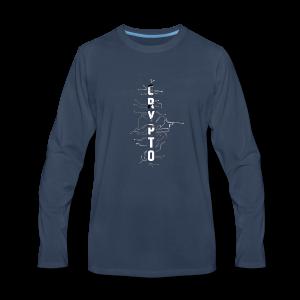 Cryptocurrency t-shirt. Digital blockchain design - Men's Premium Long Sleeve T-Shirt