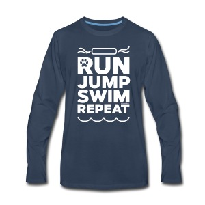 Run Jump Swim Repeat - white imprint - Men's Premium Long Sleeve T-Shirt