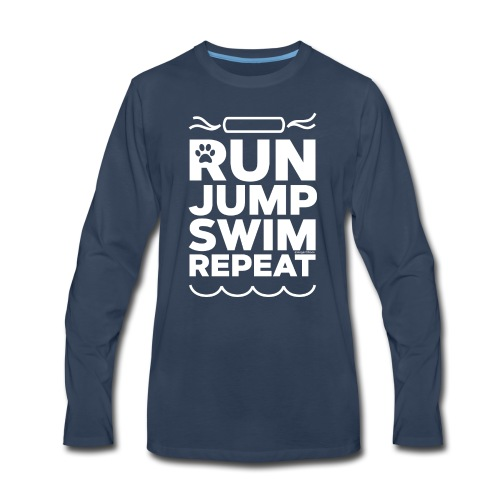 Run Jump Swim Repeat - white imprint - Men's Premium Long Sleeve T-Shirt