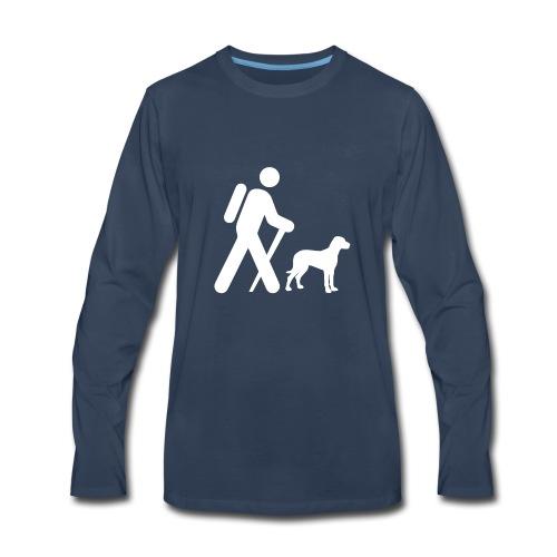 Hiking Man & Dog - Men's Premium Long Sleeve T-Shirt