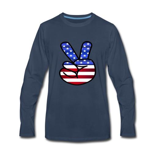 US Flag Peace Hand Sign - Men's Premium Long Sleeve T-Shirt
