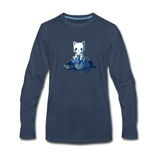 cat love knitting tshirt - Men's Premium Long Sleeve T-Shirt