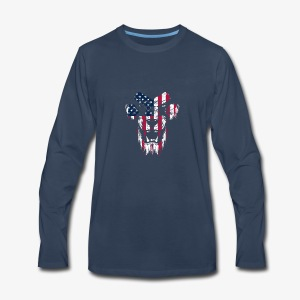 Lovely American Lion USA Flag Silhouette Portrait - Men's Premium Long Sleeve T-Shirt