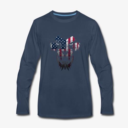 American Flag Lion Shirt - Men's Premium Long Sleeve T-Shirt