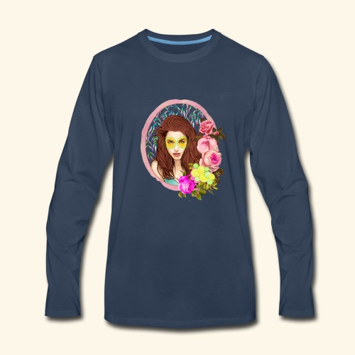 frame digital flower roses ribbon girl - Men's Premium Long Sleeve T-Shirt