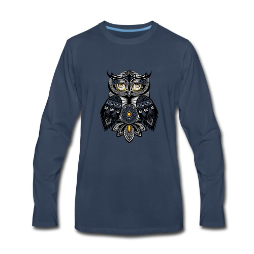 OWL Bohemian Design T-shirt BUHO FUNCLE - Men's Premium Long Sleeve T-Shirt