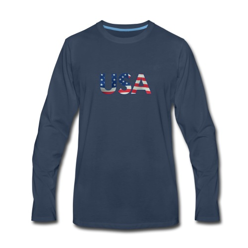 USA Flag T-shirt 4th July Fourth Red White Blue - Men's Premium Long Sleeve T-Shirt