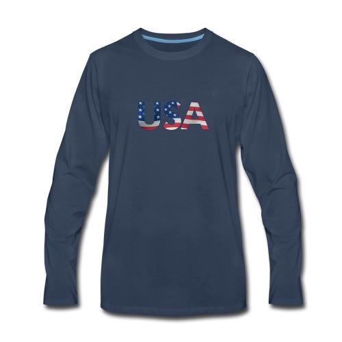USA Flag T-shirt 4th July Fourth Red White Blue - Men's Premium Long Sleeve T-Shirt