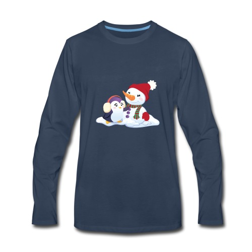 Penguin & Snowman Winter Friends - Men's Premium Long Sleeve T-Shirt