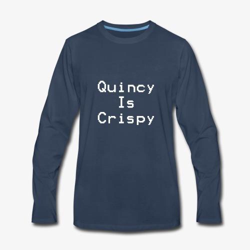 QuincyIsCrispy Text Logo (White) - Men's Premium Long Sleeve T-Shirt