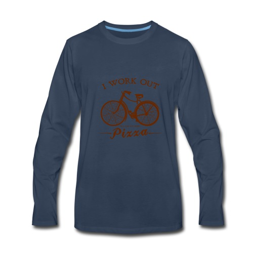 I WORK OUT FOR PIZZA - Men's Premium Long Sleeve T-Shirt