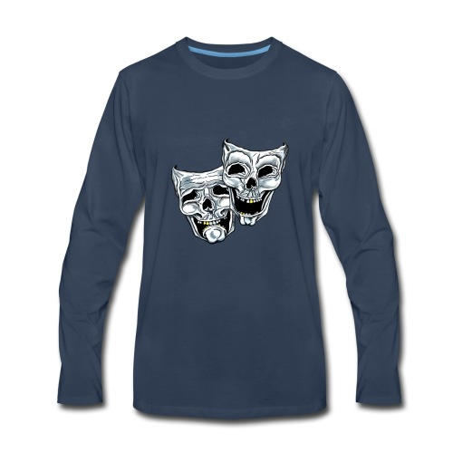 COMEDY TRAGEDY SKULLS - Men's Premium Long Sleeve T-Shirt
