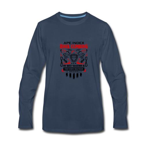 ApeIndex RockClimbing Black Red - Men's Premium Long Sleeve T-Shirt