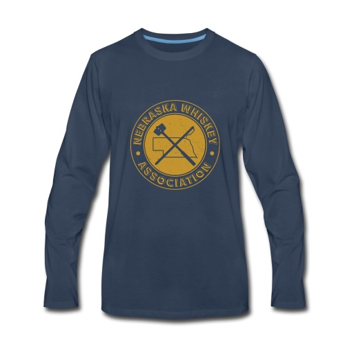 NE Whiskey assoc final badge gold distressed - Men's Premium Long Sleeve T-Shirt