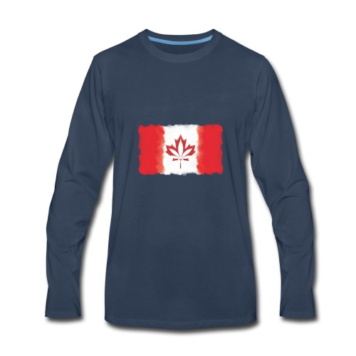 Canadian Flag - Cannabis Smoke Cloud - Men's Premium Long Sleeve T-Shirt