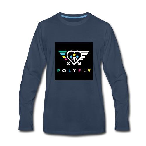 PolyFly Official Logo Wht Color - Men's Premium Long Sleeve T-Shirt