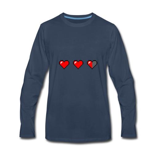 3 pixelhearts, damaged - Men's Premium Long Sleeve T-Shirt