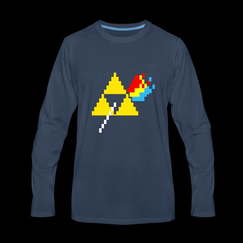 the dark side of the Triforce pixel - Men's Premium Long Sleeve T-Shirt