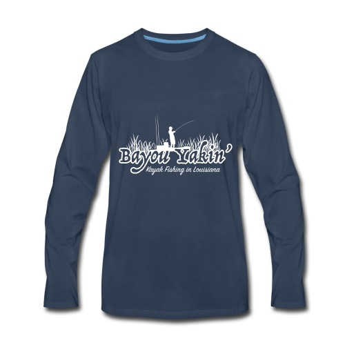 Bayou Yakin' Logo in White - Men's Premium Long Sleeve T-Shirt