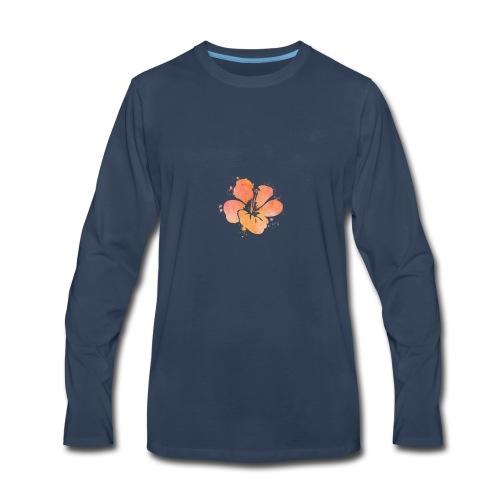 Hibiscus Watercolor Design - Men's Premium Long Sleeve T-Shirt