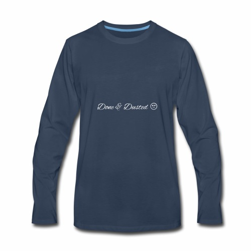 Done & Dusted White logo Plain Face - Men's Premium Long Sleeve T-Shirt