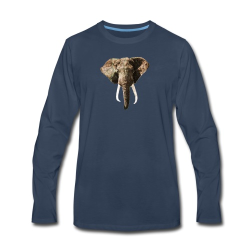 Elephant Geographic Head Illustration - Men's Premium Long Sleeve T-Shirt