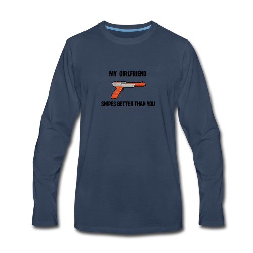 Girlfriend Snipes Better T-Shirt. Retro Gaming - Men's Premium Long Sleeve T-Shirt