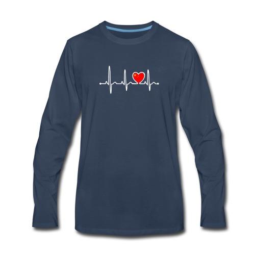 China Country Flag Heartbeat - Men's Premium Long Sleeve T-Shirt