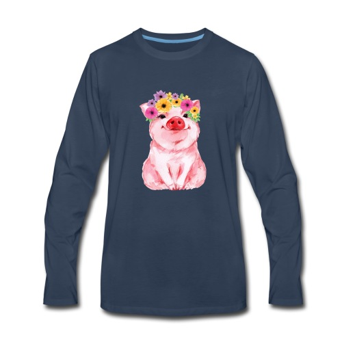 Cute pig with flower for girls and women - Men's Premium Long Sleeve T-Shirt