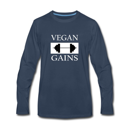 Vegan Gains white font - Men's Premium Long Sleeve T-Shirt