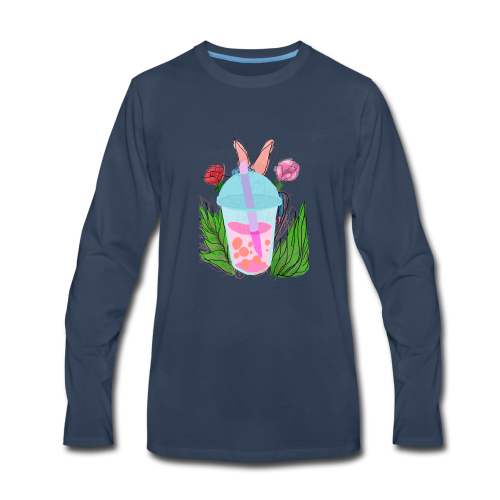 Floral bubble tea - Men's Premium Long Sleeve T-Shirt